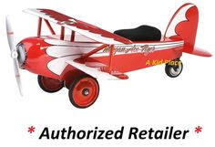 MORGAN CYCLE RED STEEL ACE FLYER BIPLANE AIRPLANE FOOT TO FLOOR RIDE-ON TOY NEW #MorganCycle