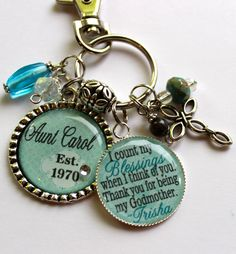 Personalized Godmother keychain 2 pendants, childrens name, god daughter, god child, god son, gift, present, religious, catholic cross on Etsy, $23.99 Godmother Gifts, Daughter Of God, Religious Jewelry, Amazing Grace, Teal Blue, Keychains, Catholic, Jewelry Box, Swarovski Crystals