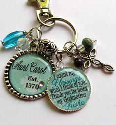 Personalized Godmother keychain 2 pendants, childrens name, god daughter, god child, god son, gift, present, religious, catholic cross on Etsy, $23.99