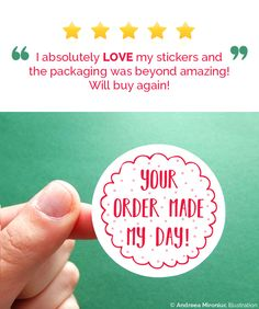 Let your customers know their order made your day! This set of super cute stickers is perfect for boosting your packaging and bringing a smile on your customer's face! :)