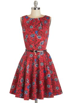 Luck Be a Lady Dress in Blossom. If youve been searching for a charming new frock, then youre in luck! #red #modcloth