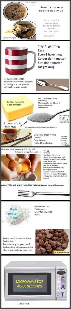 I don't know why but the instructions speak to me. They tell me how to make a cookie in a mug, though so I'm all for it!