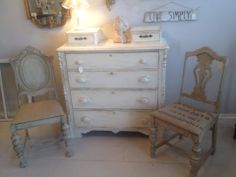1800's Dresser,with square nails, refinished and carefully distressed to give it the Shabby Chic touch!   www.facebook.com/hautevin