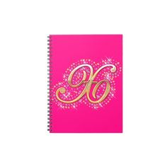 Gold & Diamonds - Pink and Beautiful Notebook with Your Initial ''X''.