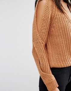 River Island   River Island Chunky Cold Shoulder Sweater