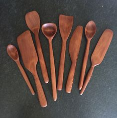 This is the second set of utensils I carved. These are carved from Western Redwood
