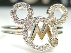 AUTH DISNEY MICKEY MOUSE CZ STERLING SILVER PLATINUM RING
