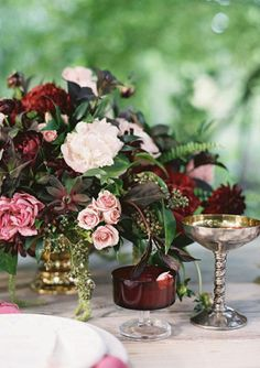 """Marsala: Wedding Inspiration Pantone's Color of the Year for 2015 and it's a great one for your wedding decor. Marsala is described as a """"naturally robust and earthy wine red. Garnet Wedding, Jewel Tone Wedding, Red Wedding, Wedding Table, Floral Wedding, Fall Wedding, Wedding Colors, Wedding Flowers, Wedding Rustic"""