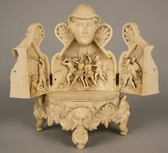 Carved Ivory Of Mary, Queen of Scots, Hinged Chest Opens To Reveal Triptych With A Scene From Assasinat de Riccio. The Base Is Supported By Four Feet With Faces, Possibly Representing The Four Winds. Ancient Egyptian Tombs, Mary Queen Of Scots, Historical Artifacts, Bone Carving, Sculpture Art, Horns, Amazing Art, Muse, 19th Century
