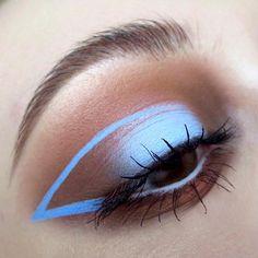 brown & milky blue halo eye w/ graphic cat eye / cut crease wing @kaynadianbeauty | #spotlight makeup #pastel