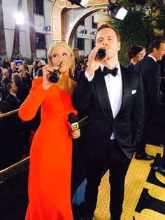 Michael Fassbender and Nancy O'Dell at the 2016 Golden Globe