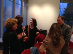 Janece Shaffer mingling with the Olmsted Society before the first public performance of The Geller Girls.