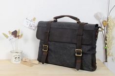 9d7f8e51533 Dark grey Leather bag Genuine leather canvas bag  by weiweihe,  49.99 Mens  Leather Satchel