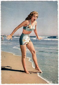 Not quite warm enough to venture in yet . 1950's vintage swimsuit