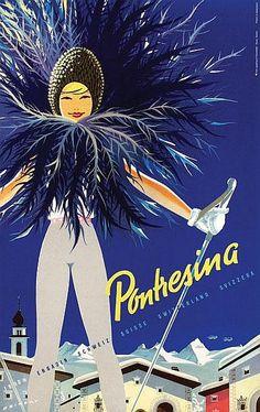 Pontresina #travel #poster by Martin Peikert 1958
