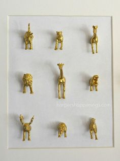 framed mini gold animals