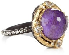 Armenta Gold Midnight Round Sugelite Ring