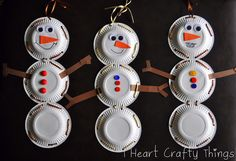 Super cute snowman made from paper plates