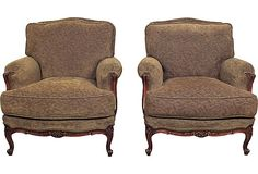 Vintage French Provençal-Style Club Chairs, Pair; newly upholstered in olive green chenille.  Curated by Castle Antiques & Design