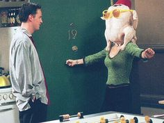 """Monica puts a turkey on her head to make Chandler feel better and he says """"I love you""""!!!"""