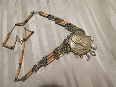 Vintage modernist bone & mother pearl native made aztec necklace
