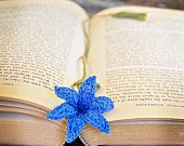 Handmade Bookmark Crochet Blue Lily Flower