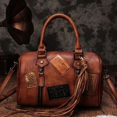Vintage Leather Purse Boston Tassel Handbag Shoulder Crossbody Bags 151163c9ec1e5
