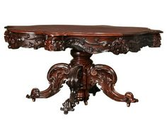 Great c1850 Rococo Victorian dining table, rosewood. Victorian Furniture, Victorian Decor, Victorian Homes, Antique Furniture, Rococo, Table Furniture, Cool Furniture, Victorian Dining Tables, Banquet Tables