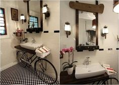 The New Decoration Of The Unique Bathroom Vanity In The Modern Era: The Onuque Design Of Bicycle Bathroom Vanity Sink With White Rectangle Sink On Bicycle Also With Wooden Rectangle Mirror And Wall Light On White Wall With Picture Frame And Glas Diy Bathroom, Vanity, Decor, Diy Bathroom Vanity, Bathroom Decor, Interior, Bicycle Sink, Vanity Sink, Vintage Bathroom
