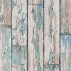 papel pintado con tablones pelados color azul grisáceo, telas & papel