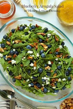 Blueberry Arugula Salad with Honey-Lemon Dressing : a colorful, fresh, delightful salad that's not only good to look at, but delicious and good for you too!