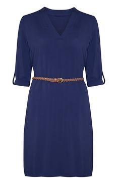 Primark - Vestido camisero azul con cinturón