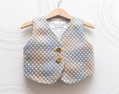 Toddler wool vest in pastel blue, brown and grey Polka dot baby vest with golden buttons, linen lining. Size 1-2,5 years