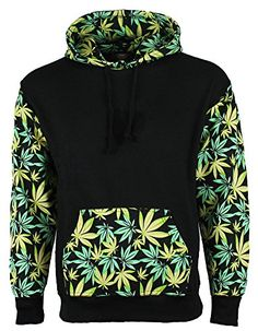 Green Leaves Design Hoodie Weed leaves print Front pocket, pull over hooded sweatshirt.