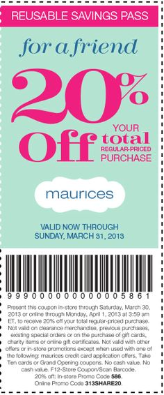 picture about Maurices Coupon Printable called Maurices com promo code : Vera bradley free of charge transport coupon code