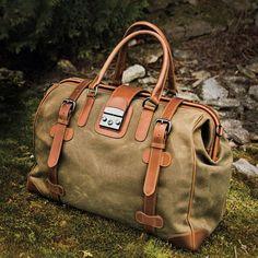 Waxed Cotton Safari Bag by J.L. Powel, $485 (19*13.5*10)