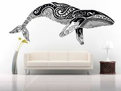 Wall Room Decor Art Vinyl Sticker Mural Decal Pattern Poster Design Styling Interior Pictures Tribal Animal Tattoo Pattern Fish Whale FI486