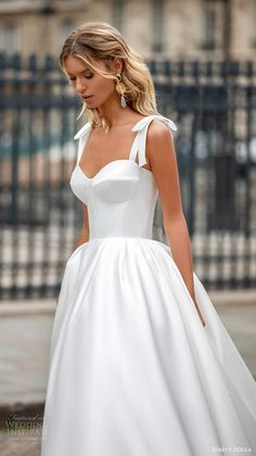 simply milla nova 2020 bridal sleeveless bow straps sweetheart neckline clean minimalist a line ball gown wedding dress chapel train zv -- Milla Nova& Simply Milla 2020 Wedding Dresses Best Wedding Dresses, Bridal Dresses, Wedding Gowns, Wedding Dress Bow, Classy Wedding Dress, Weeding Dresses, Rustic Wedding Dresses, Tulle Wedding, Wedding Ideas