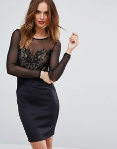 Lipsy Mesh Long Sleeve Embroidered Bodycon Dress