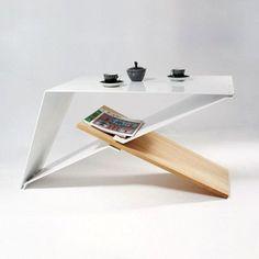 Designers coffe table, aluminium and oak wood, modern design, unique furniture…