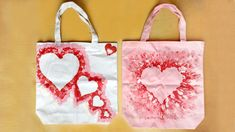 Fingerprint Heart Tote Bags - Crafts ValentinesDay