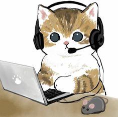 Cute Animal Drawings Kawaii, Cute Little Drawings, Kitten Drawing, Magic Cat, Drawing Wallpaper, Funny Cute Cats, Mini Canvas Art, Cute Creatures, Cute Images