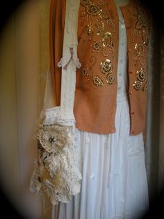 Victorian Shabby Purse, vintage tattered doilies / lace ruffles / romantic handmade fabric bag