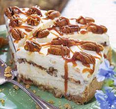 Peach-Pecan Ice Cream Pie with Caramel Sauce