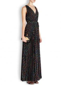 Black jewel-print plissé crepe gown
