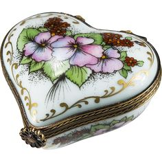 #VitnageBeginsHere at www.rubylane.com @rubylanecom --Limoges Romance Peint Main Heart Trinket Box Flowers Gold Signed Numbered Limoges Trinket