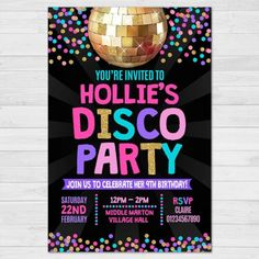 Details about Personalised Disco Invitations, Birthday Dance Party Invites, + Envelopes#birthday #dance #details #disco #envelopes #invitations #invites #party #personalised Disco Birthday Party, Kids Birthday Party Invitations, Disco Party, Birthday Parties, Girls Tea Party, Sending Hugs, Rsvp, Make It Yourself, Invites