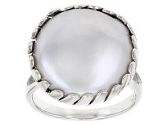 16mm White Cultured Freshwater Pearl Rhodium Over Sterling Silver Ring