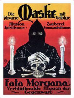 The Black Mask with entourage (c. Vintage Horror, Vintage Circus, Vintage Ads, Vintage Images, Vintage Posters, Creepy History, Fata Morgana, The Lovely Bones, Horror Artwork