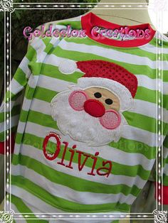 Santa applique on embroidery Pajama blank.